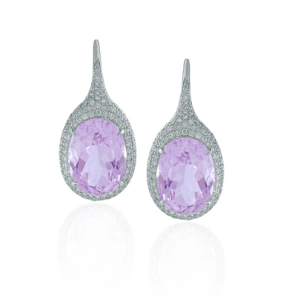 Oval Kunzite & Diamond Drop Earrings