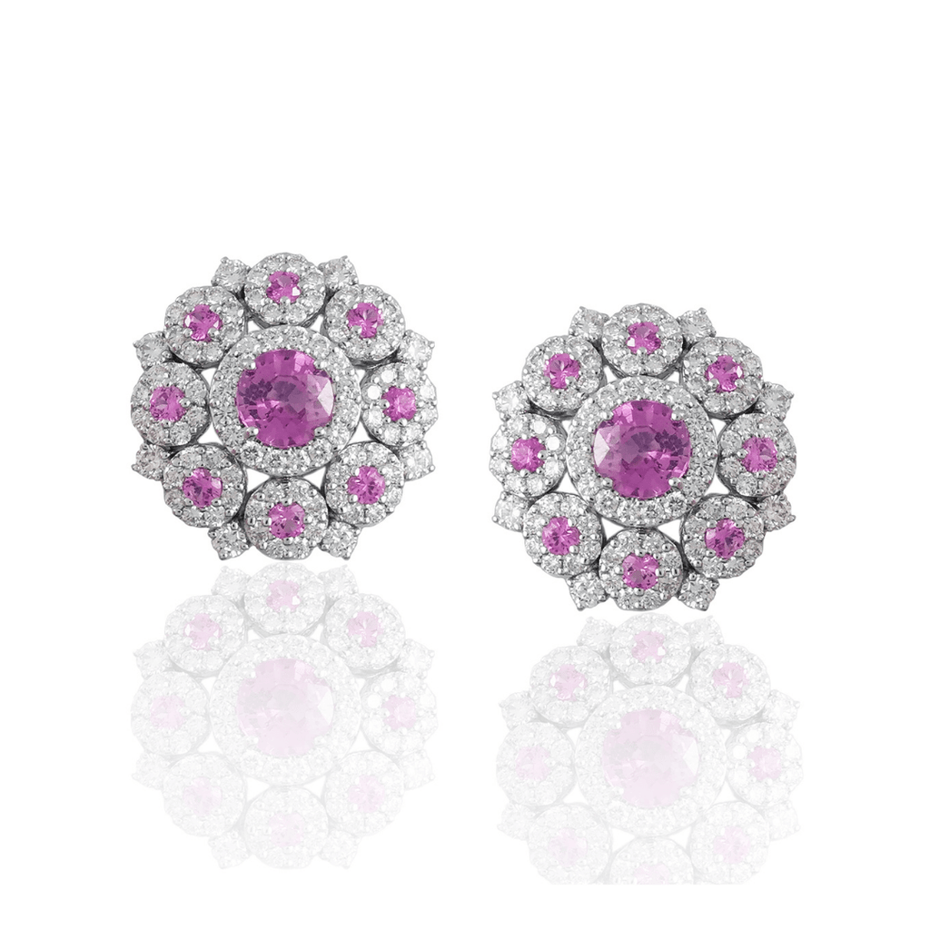Pink Sapphire & Diamond Halo Cluster Earrings