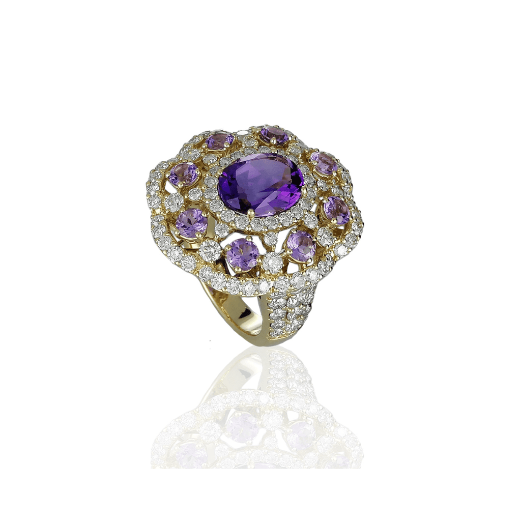 Oval Amethyst & Diamond Cluster Ring