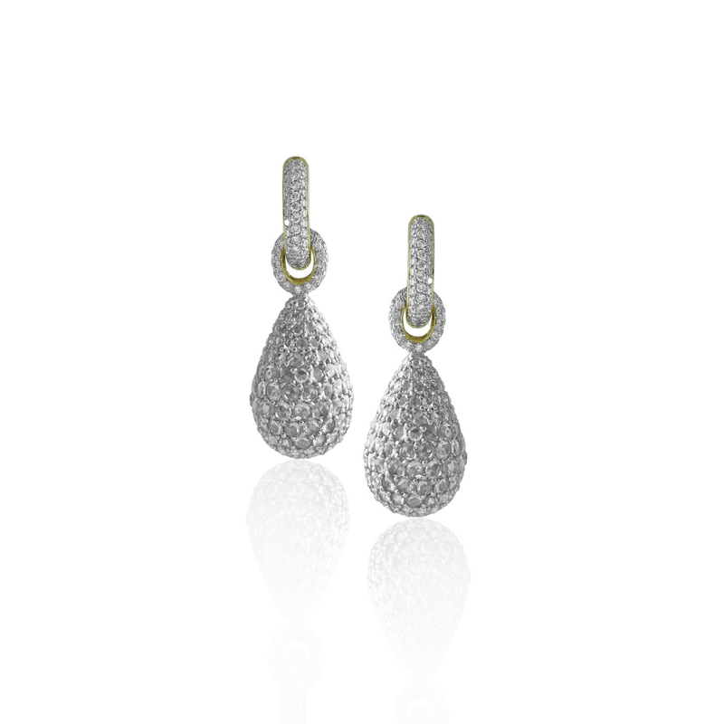 Hammer Set Diamond Huggie Style Earrings
