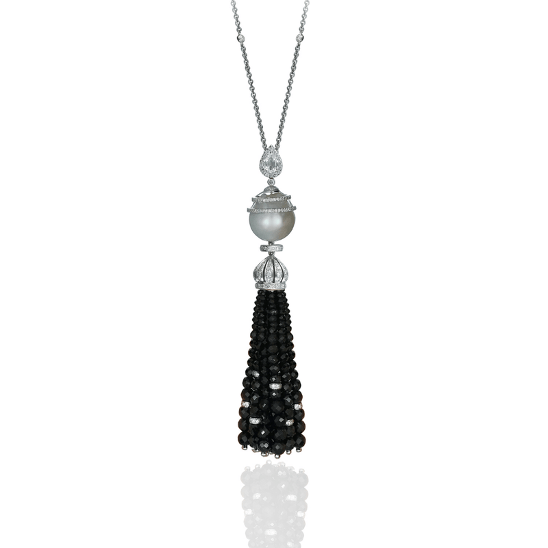 Pearl, Black Spinel & Diamond Lariat Tassel Necklet
