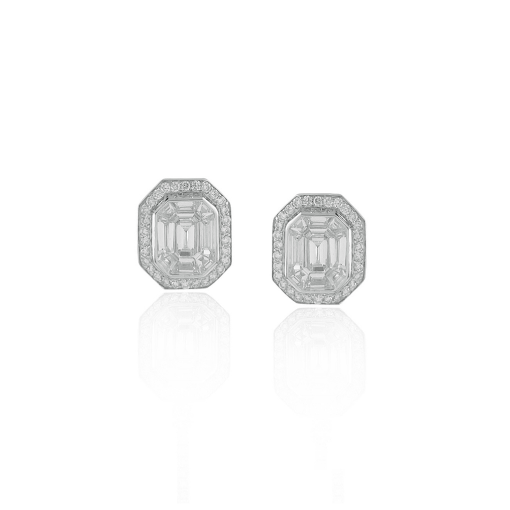 Invisibly Set Diamond Stud Earrings