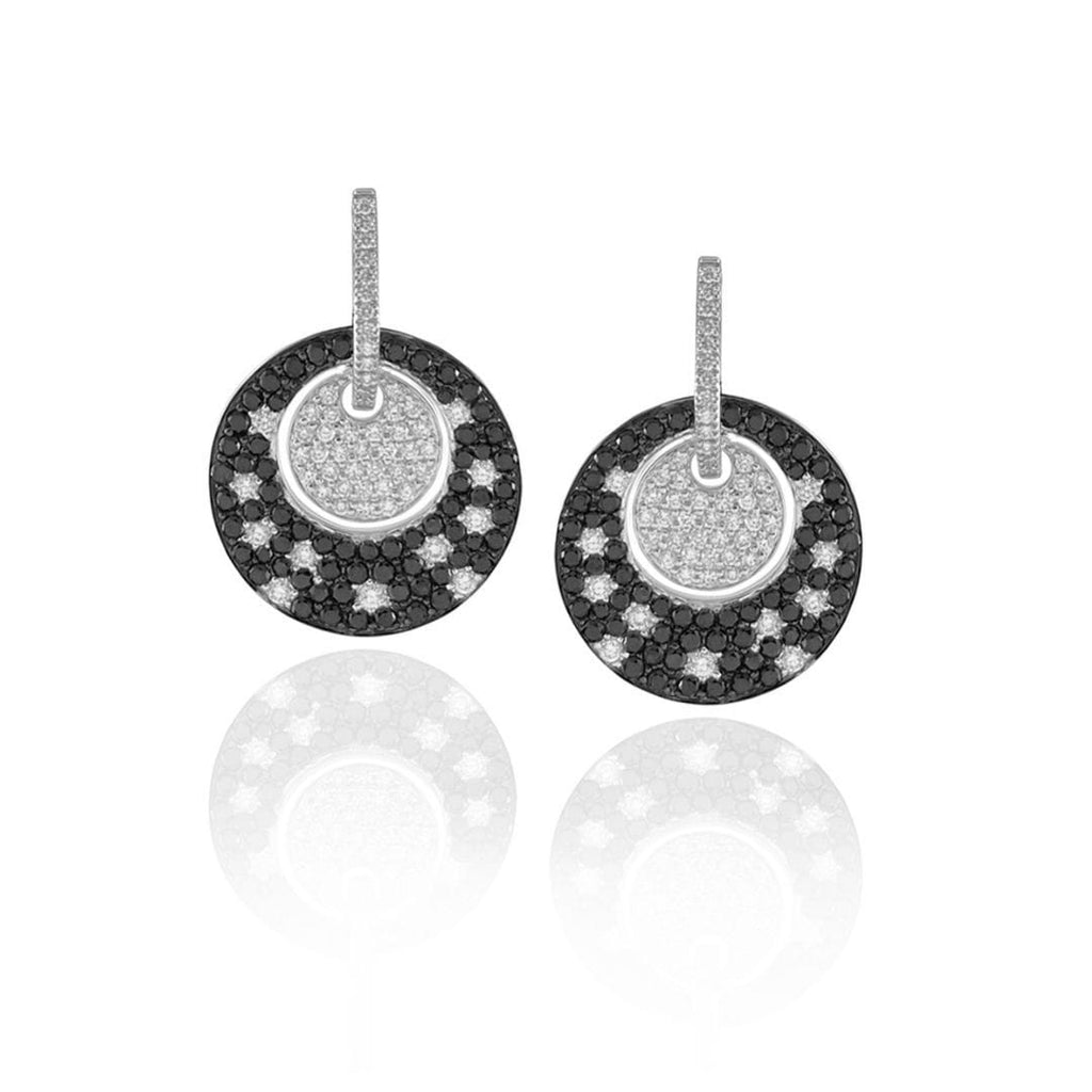 Black & White Diamond Disc Earrings