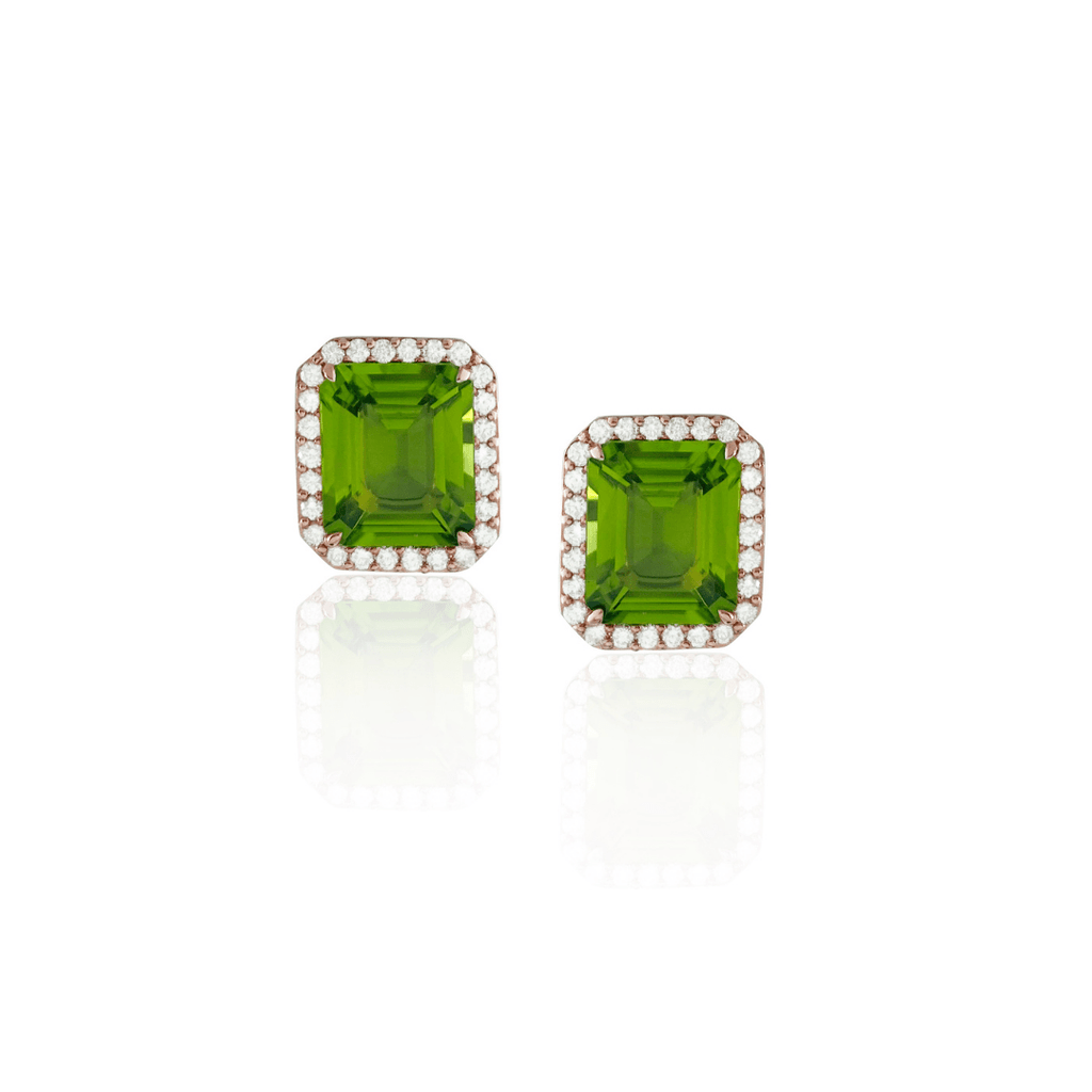 Emerald Cut Peridot Stud Earrings