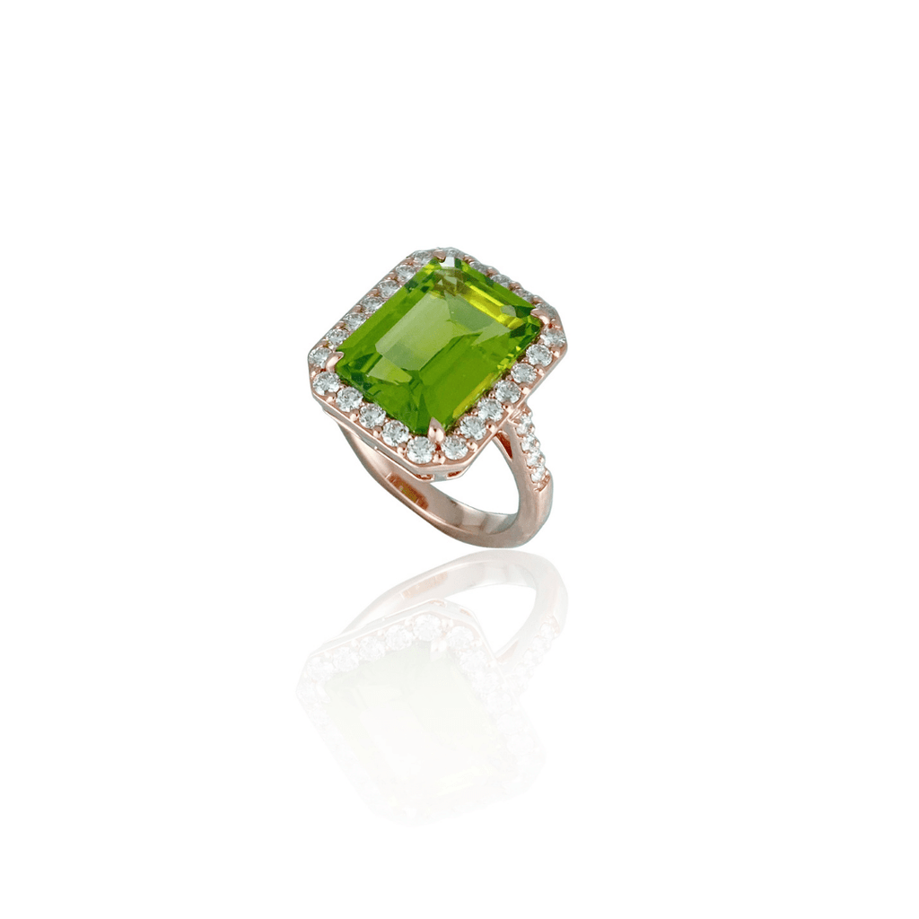 Emerald Cut Peridot Dress Ring