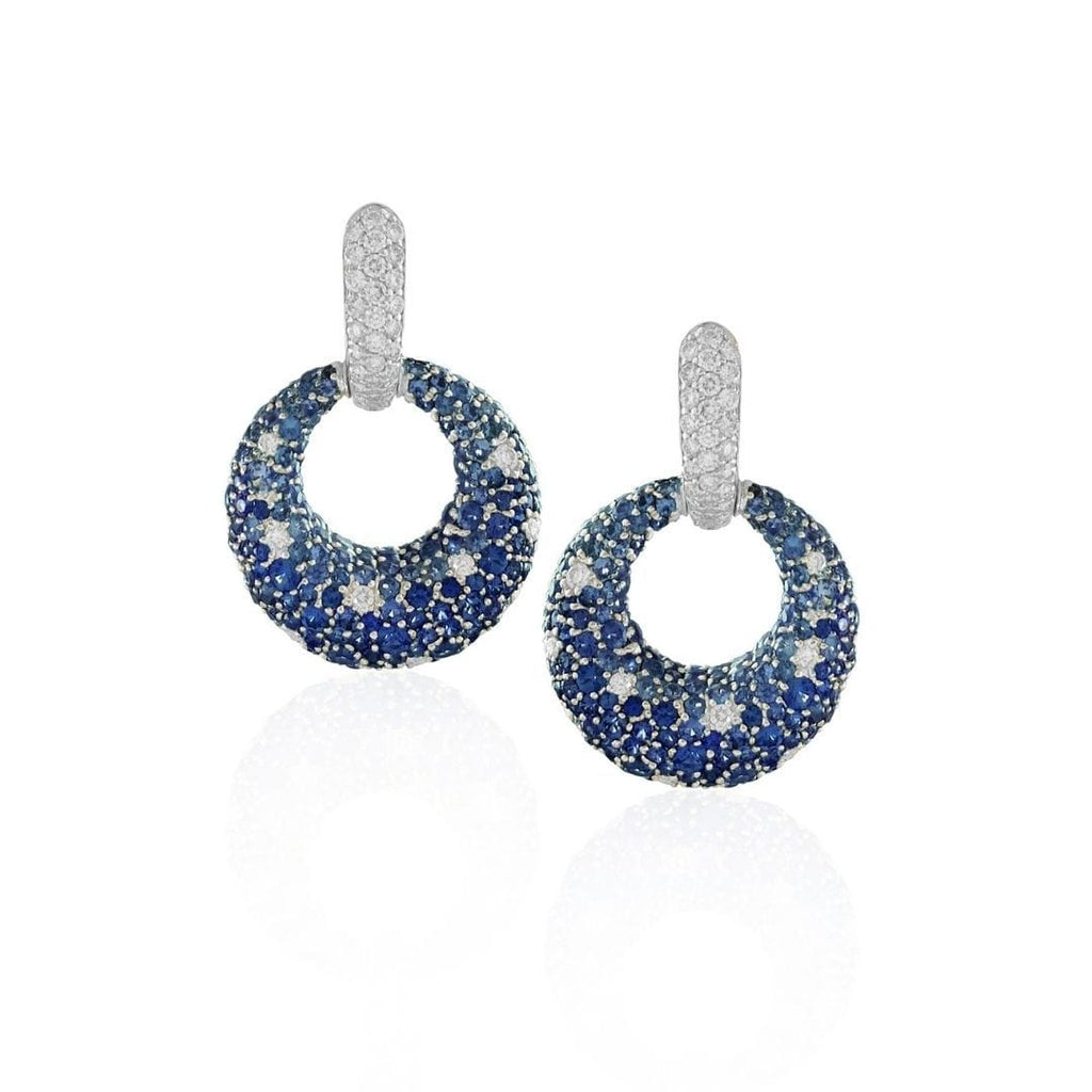 Sapphire & Diamond Circle Drop Earrings