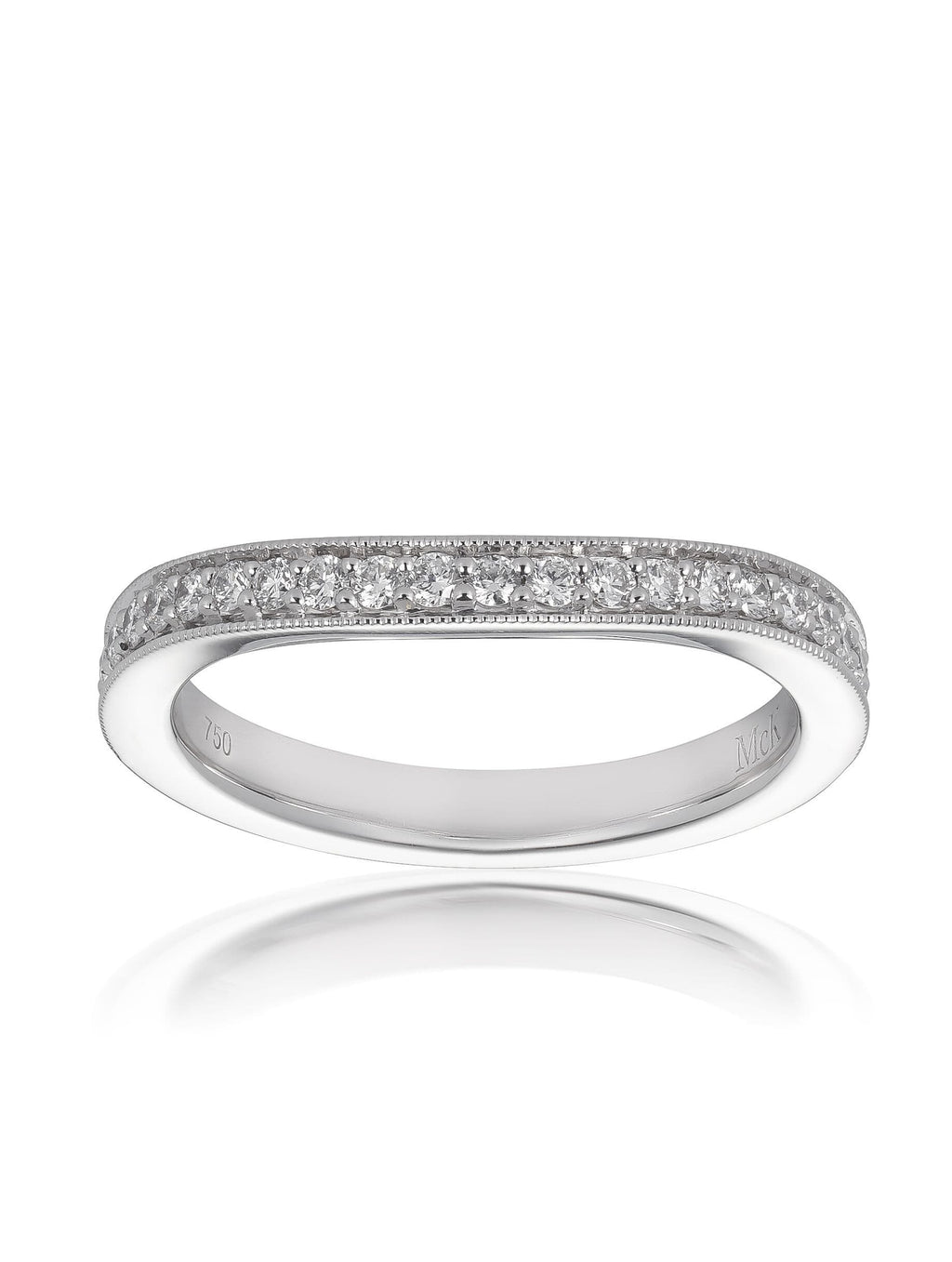 Curved Bead Set Round Brilliant Cut Diamond Ring