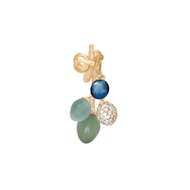 Lotus London Blue Topaz, Aquamarine, Serpentine & Diamond Bunch Pendant
