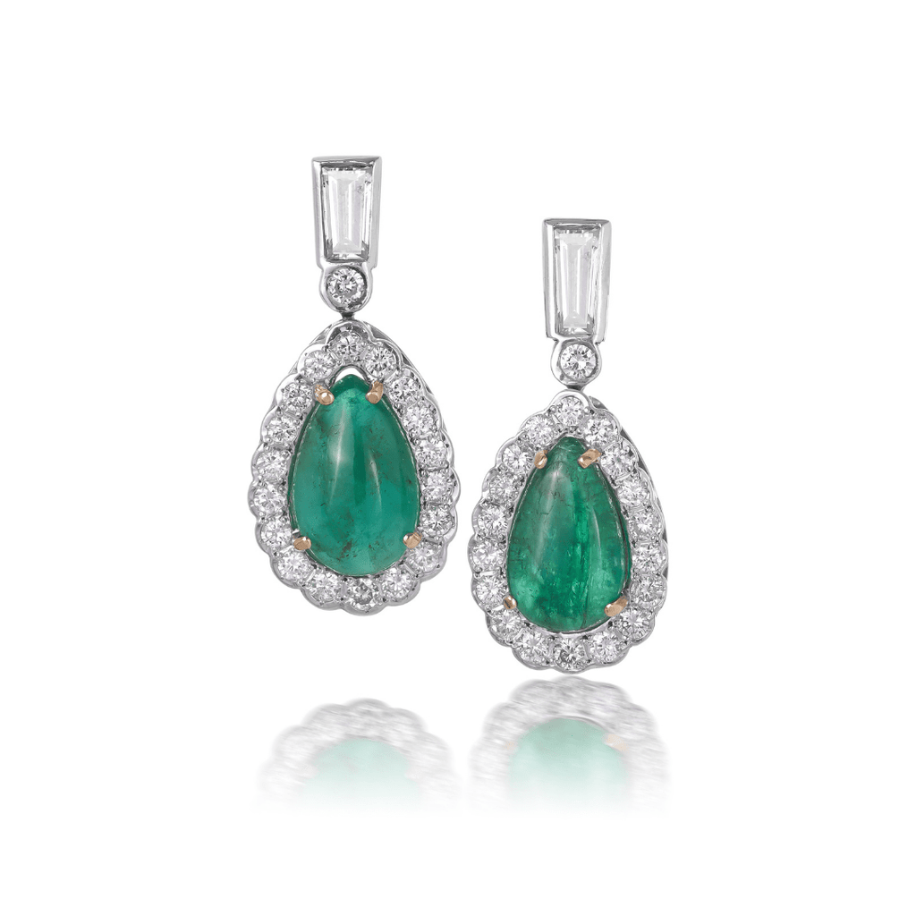 Cabochon Emerald & Diamond Earrings