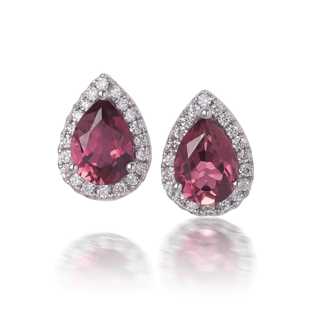 Pear Cut Pink Tourmaline Stud Earrings