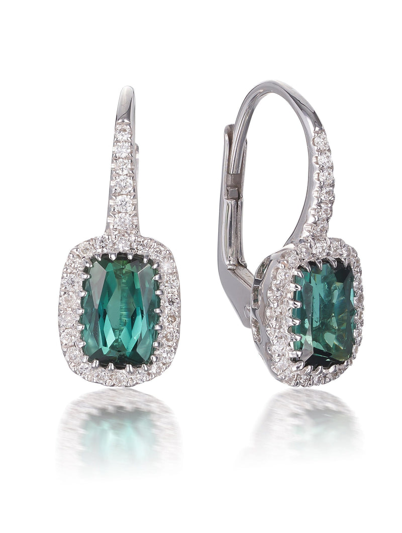 Green Tourmaline & Diamond Drop Earrings