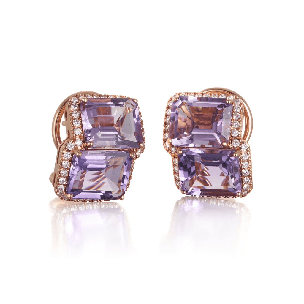 Amethyst, Rose de France & Diamond Stud Earrings