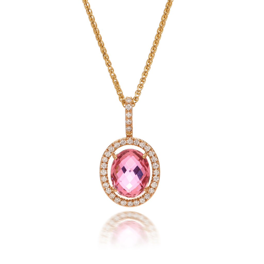 Oval Pink Tourmaline & Diamond Halo Pendant
