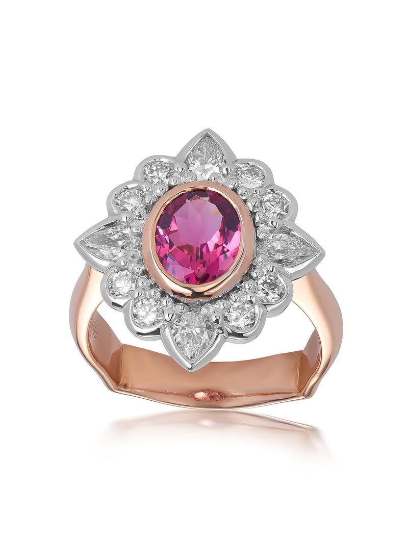 Pink Tourmaline & Diamond Cluster Ring