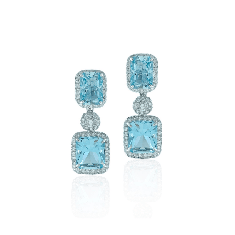 Aquamarine & Diamond Cluster Studs
