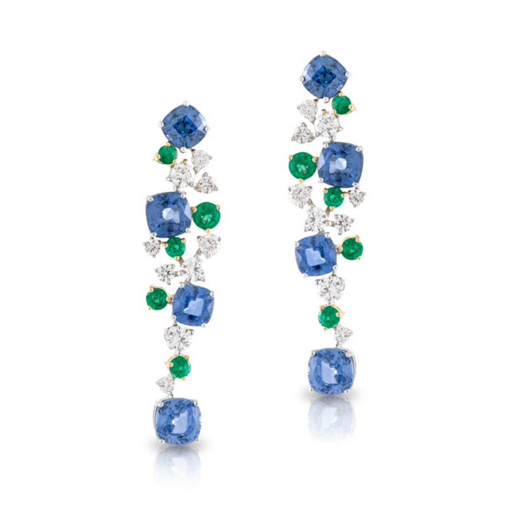 Emerald, Diamond & Sapphire Drop Earrings