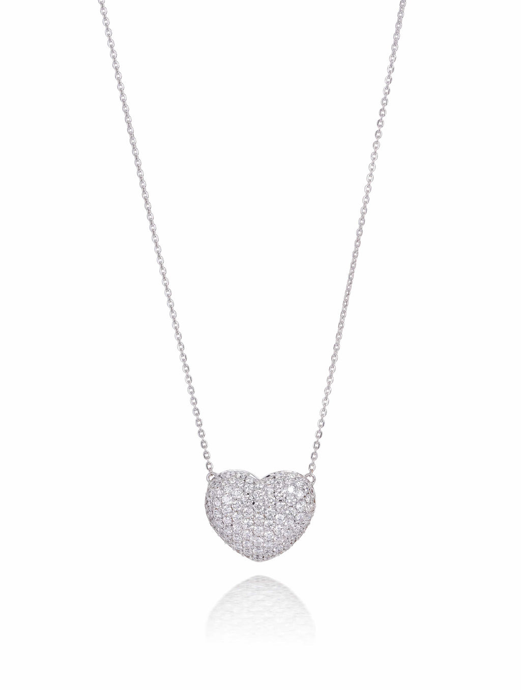 Pave Diamond Set Heart Necklace
