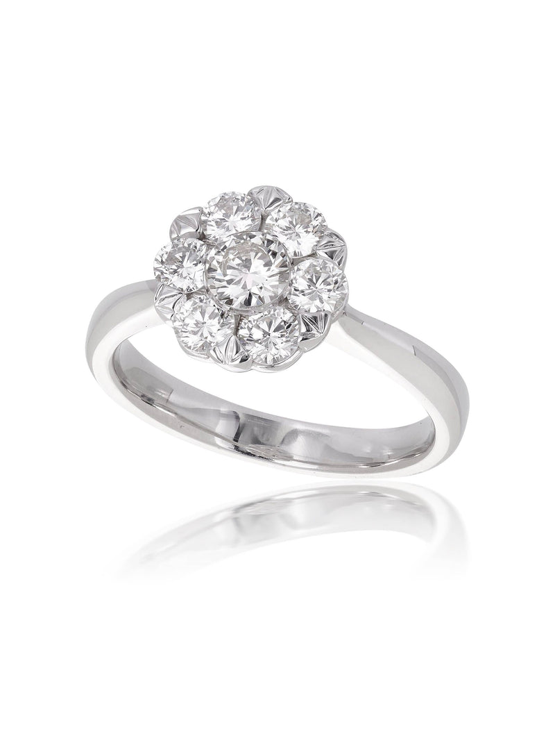 Two Tone Cluster Diamond Ring