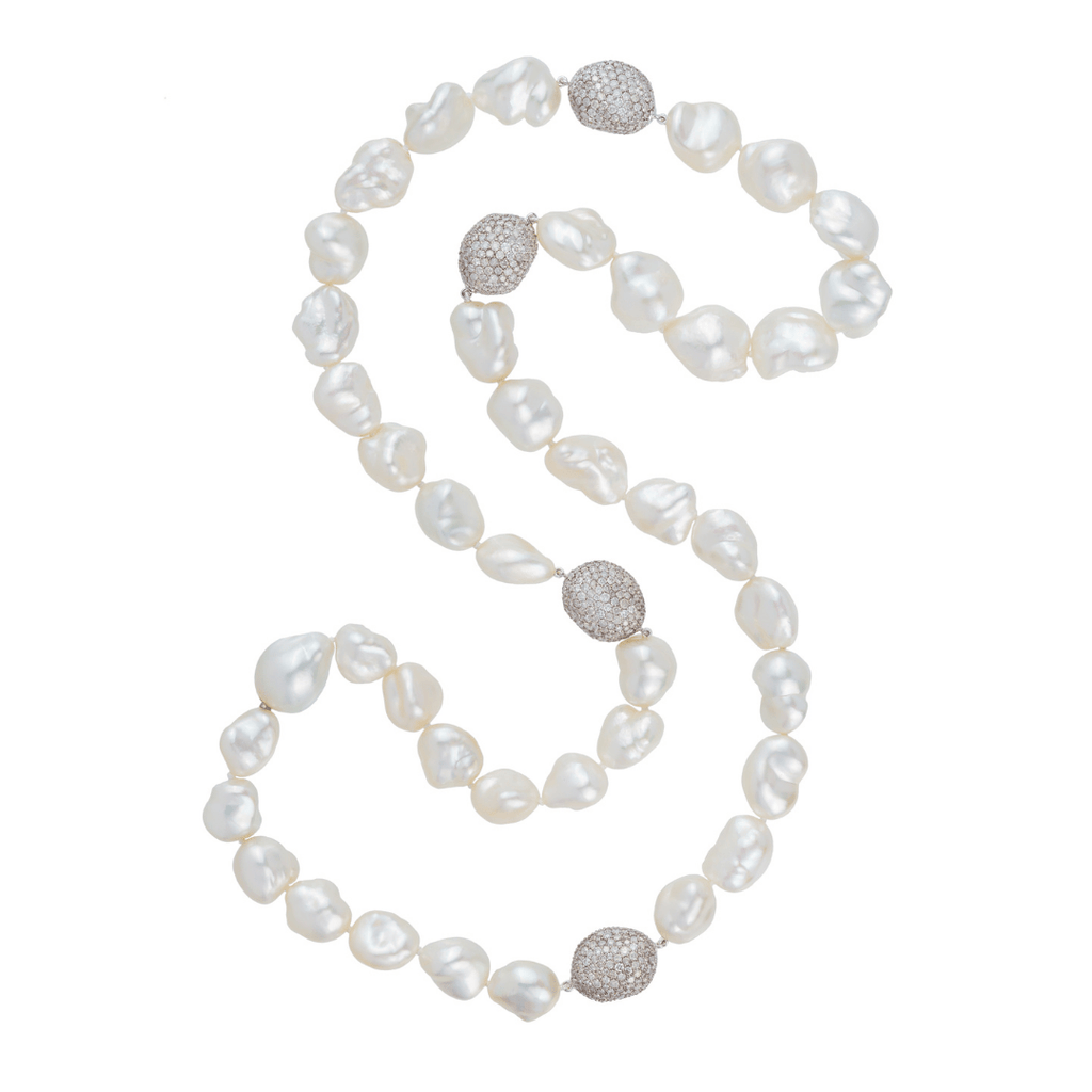 South Sea Keshi Pearl & Diamond Necklet