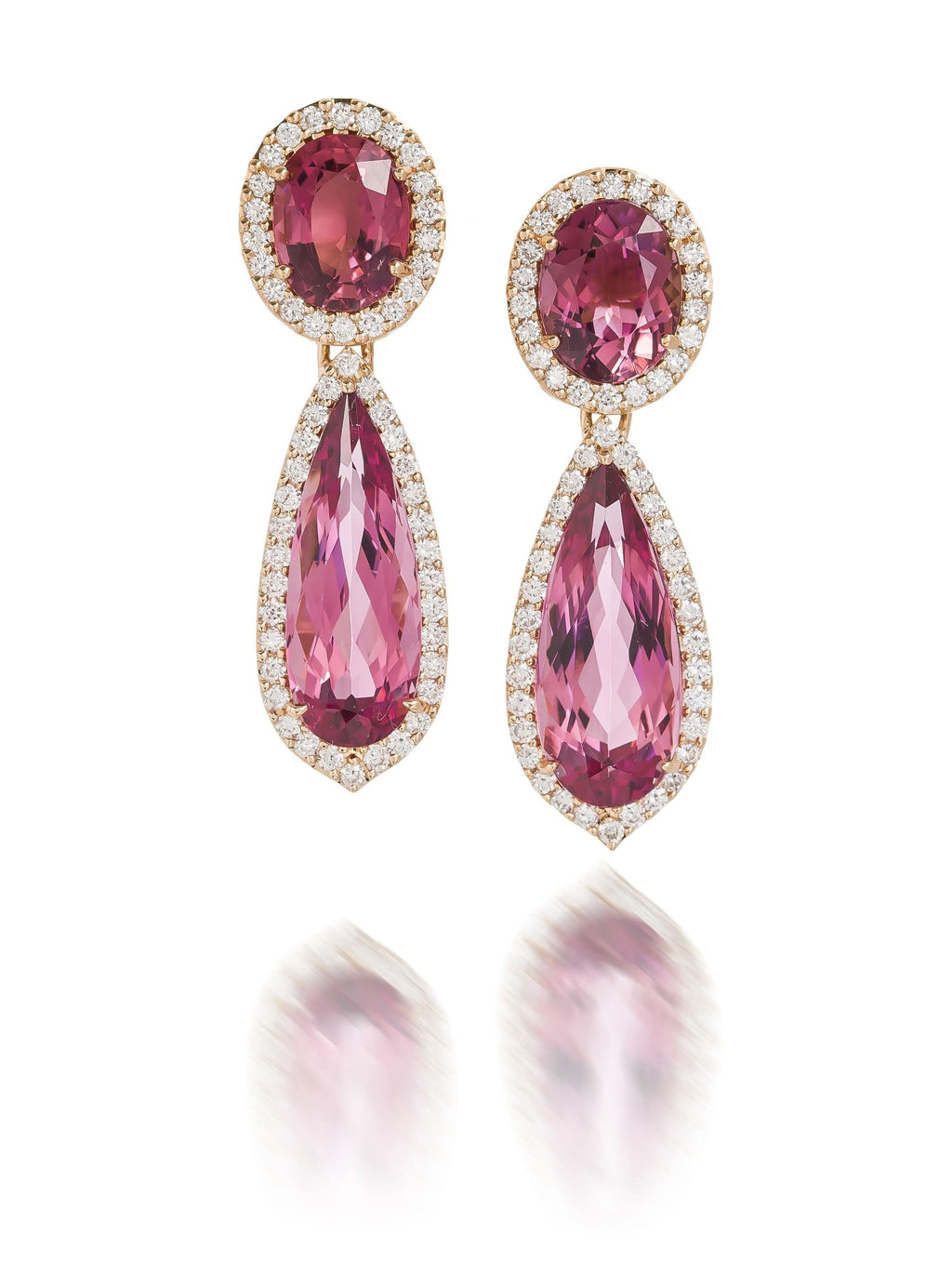 Pink Tourmaline & Diamond Halo Drop Earrings