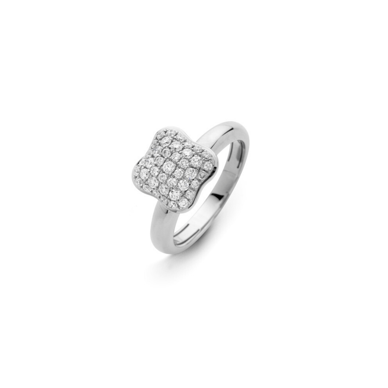 Quadrifoglio Pave Diamond Ring