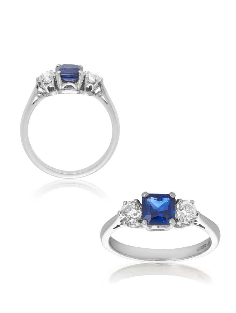 No. 58 - Sapphire & Diamond Three Stone Ring