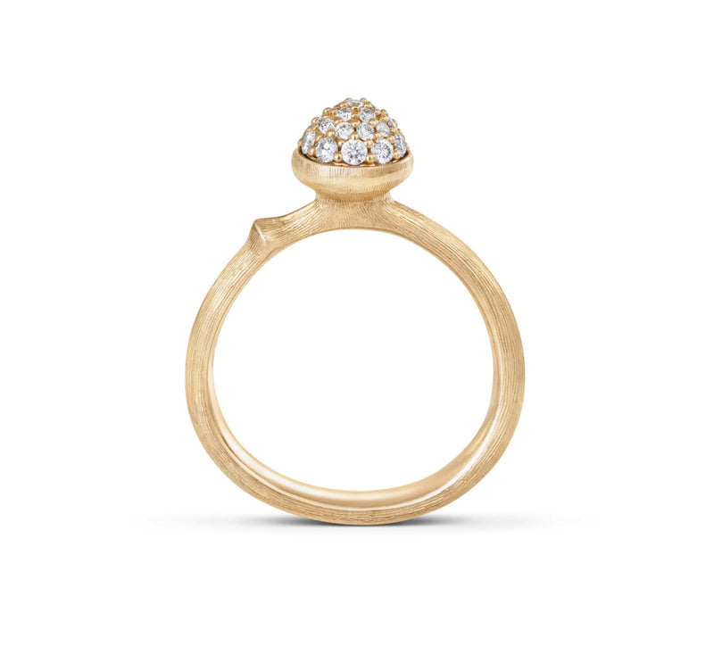 Lotus Small Pave Diamond Ring