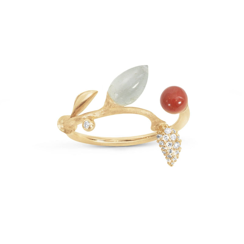 Blooming Aquamarine, Coral & Diamond Ring