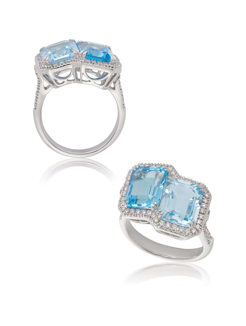 Blue Topaz & Diamond Dress Ring