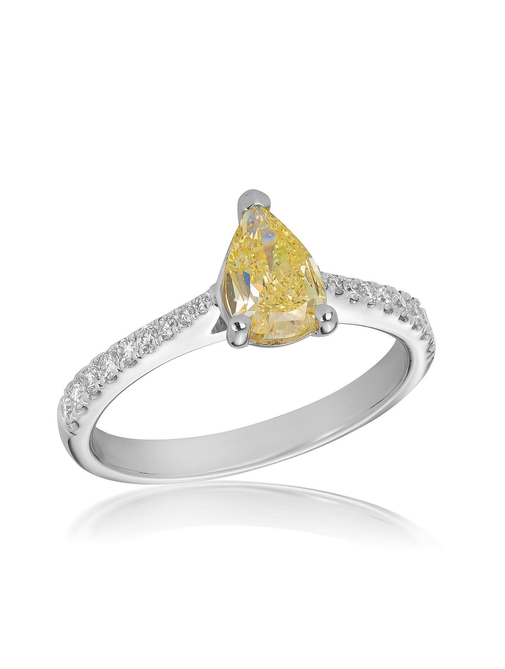 Signature Pear Cut Yellow Diamond Ring