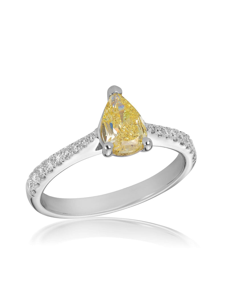 No. 24 - 1.52ct Pear Cut Fancy Yellow & White Diamond Ring