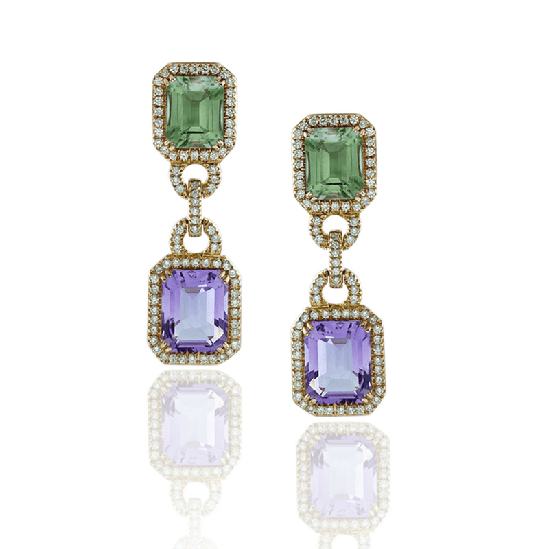 Emerald Cut Amethyst & Diamond Drop Earrings