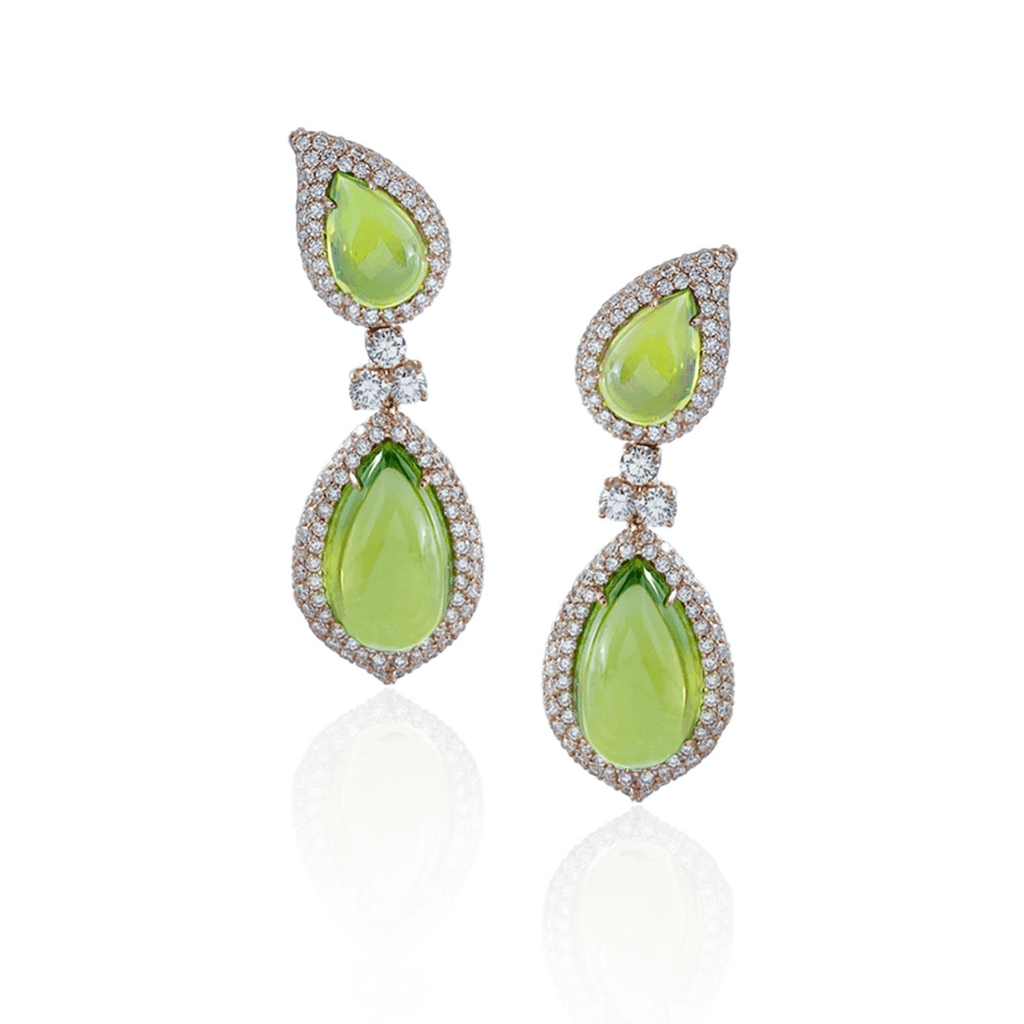 Pear Cut Cabochon Peridot Drop Earrings