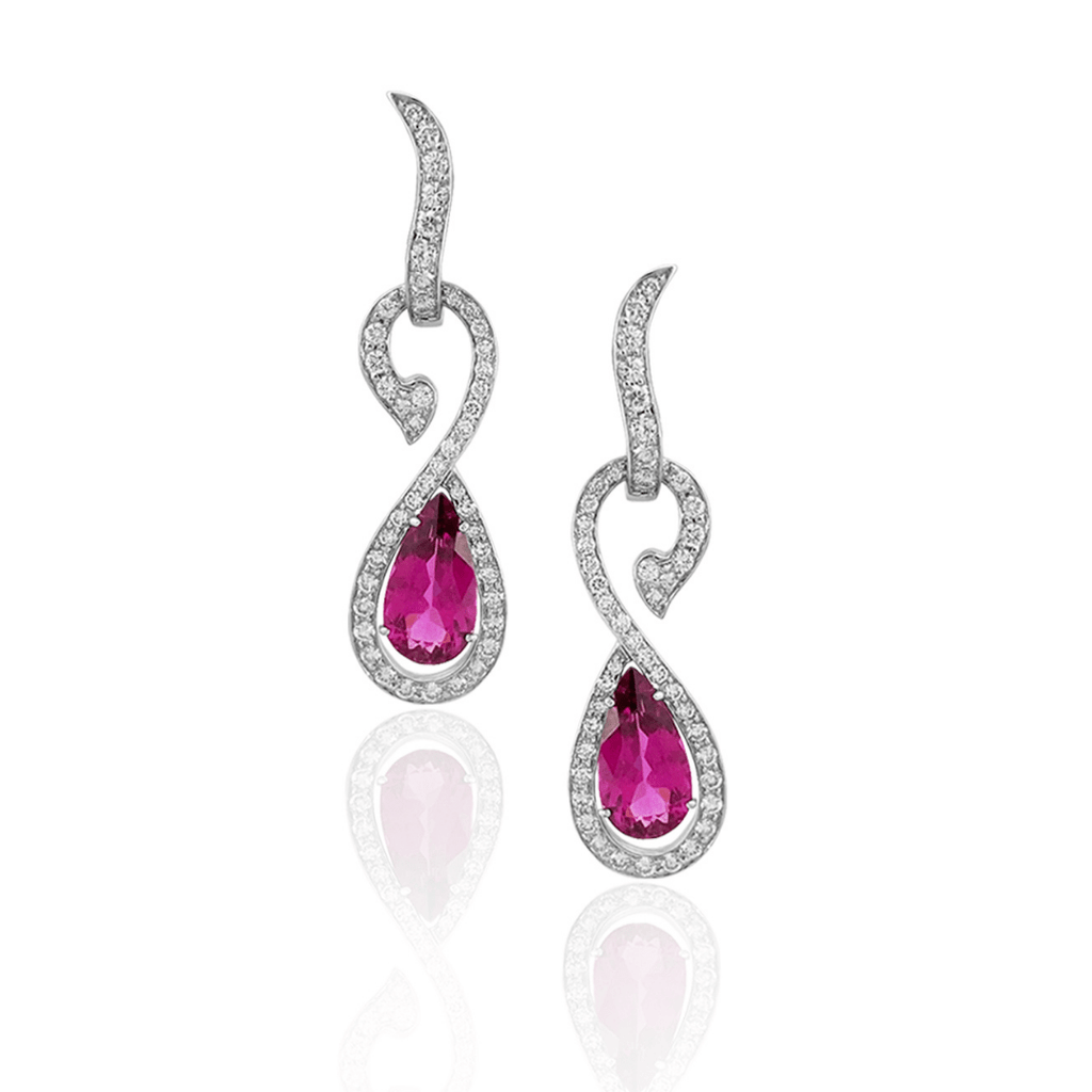 Pear Cut Rubellite & Diamond Drop Earrings
