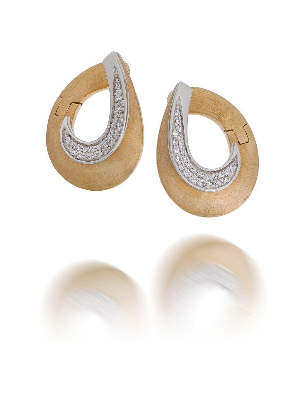 Rose & White Gold Brushed Diamond Earrings