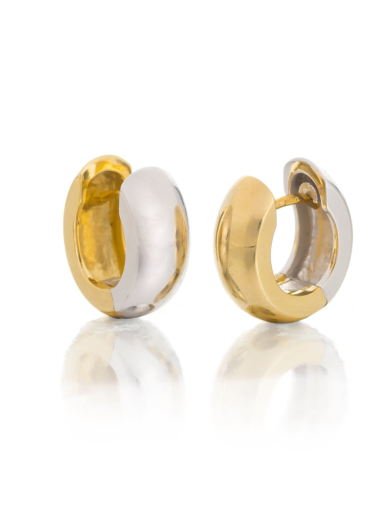 Reversible Yellow & White Gold Huggie Earrings