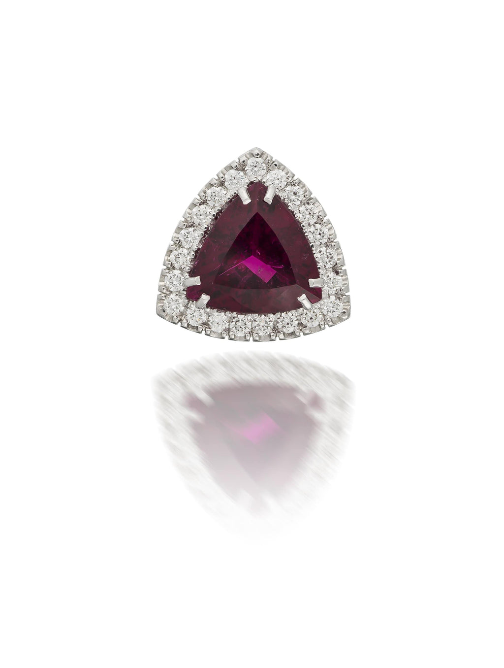 Trilliant Cut Rubellite & Diamond Pendant