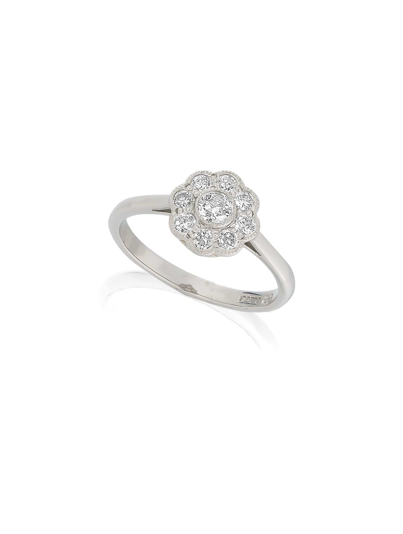 Platinum Antique Daisy Cluster Ring