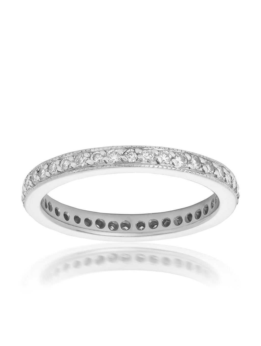 Full Circle Bead Set Round Brilliant Cut Diamond Ring