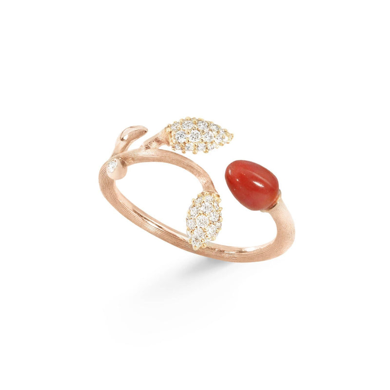 Blooming Coral & Diamond Ring