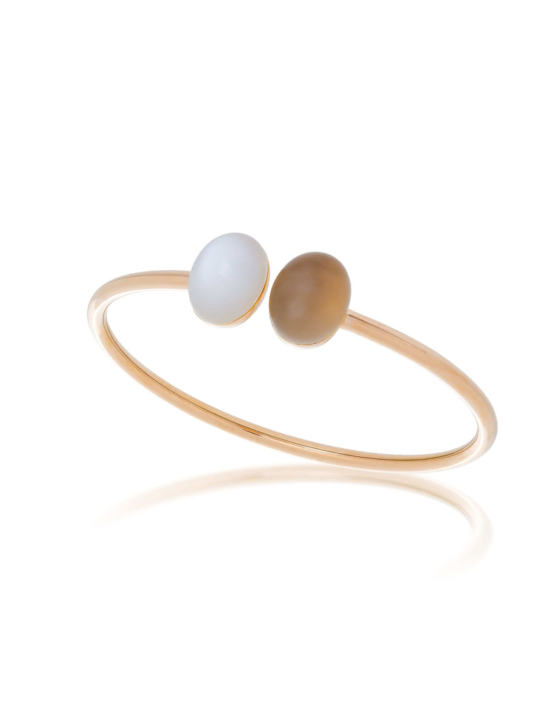 White Moonstone & Smoky Quartz Rose Gold Bangle