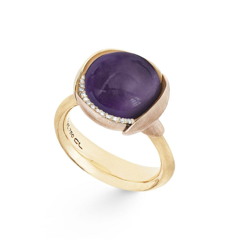 Lotus Amethyst & Diamond Ring - Size 3