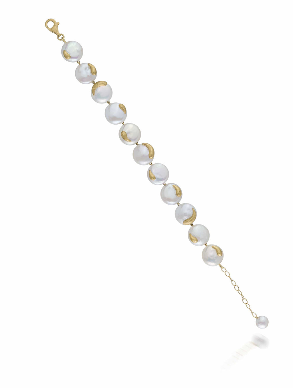 Yellow Gold Freshwater Coin Pearl Bracelet