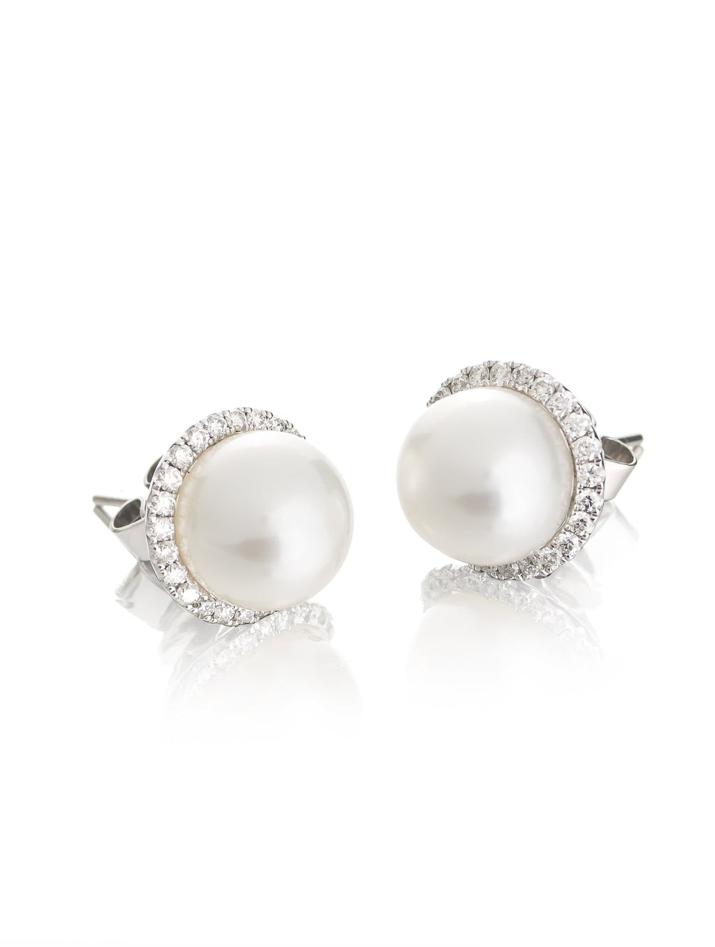 Pearl & Diamond Halo Stud Earrings