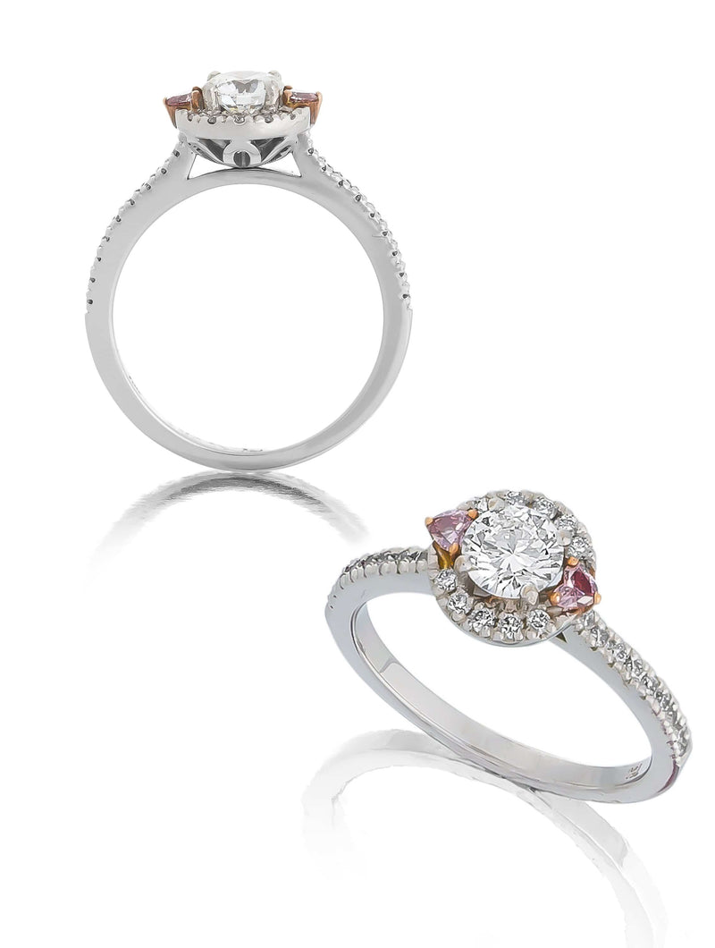 White & Pink Diamond Engagement Ring
