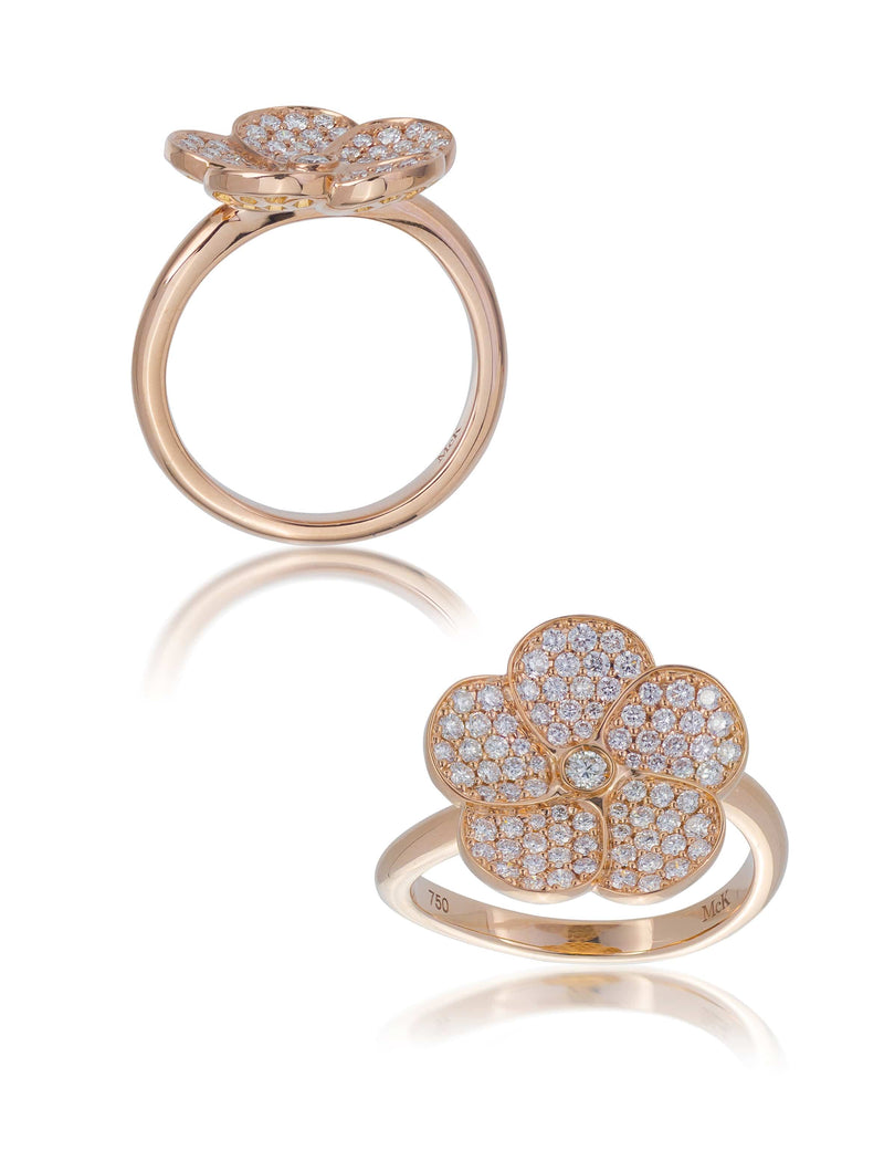 No. 3 - Diamond Set Rose Gold Frangipani Flower Ring