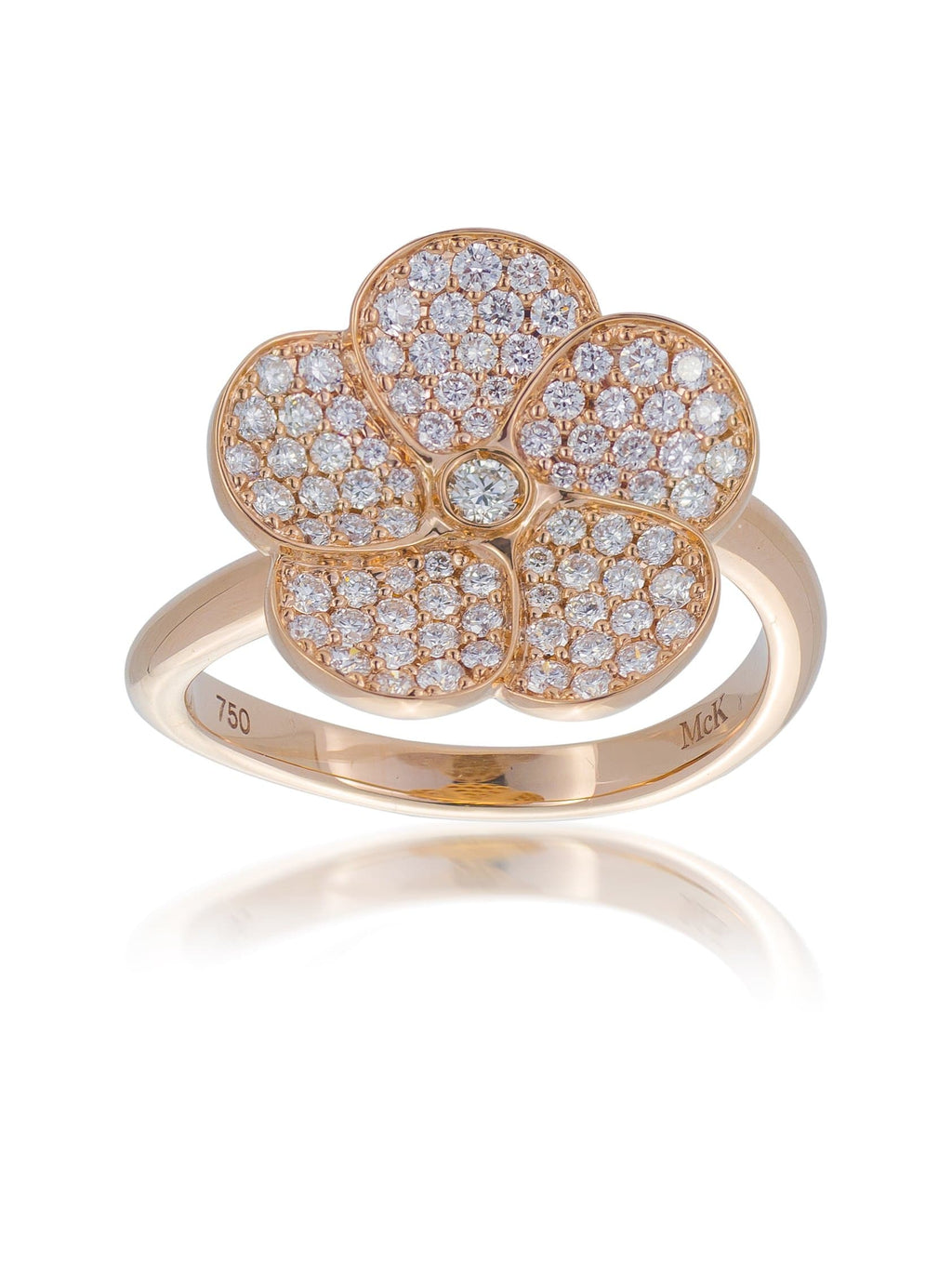 Diamond Set Rose Gold Frangipani Flower Ring