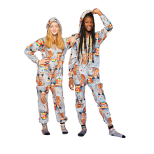 Load image into Gallery viewer, Plush Fleece Onesie Pajama with Hood & Pockets (KIDS) - SHOW STOPPER