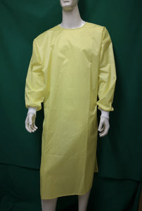 ISOLATION GOWNS - Fluid Resistant, Yellow with Stripes (72 pieces)