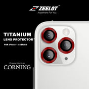 Zeelot iPhone 12 Pro 6.1 (2020) / 11 Pro Max 6.5 / Pro 5.8 (2019) Titanium Steel with Corning Glass Lens Protector (3 Camera)